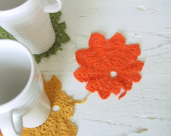 Crochet Autumn leaf coasters- mustard, orange and olive green- set of 3
