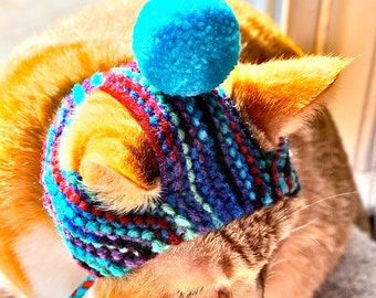 Pom Pom Cat Hat - Tie Dye & Teal - Hand Knit Cat Costume