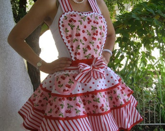 Red Cherry Womens Full Apron