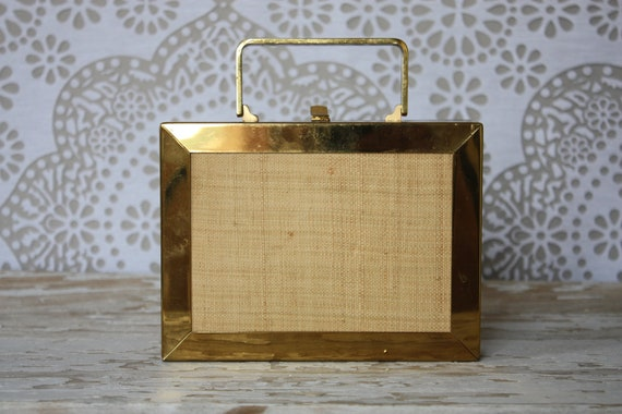 Vintage 1950's Gold Tone Metal Box Purse with Raffia Accents
