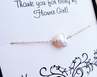 Flower girl thank you card with Freshwater heart pearl flowergirl bracelet, Junior bridesmaids bracelet, heart bracelet,small child bracelet