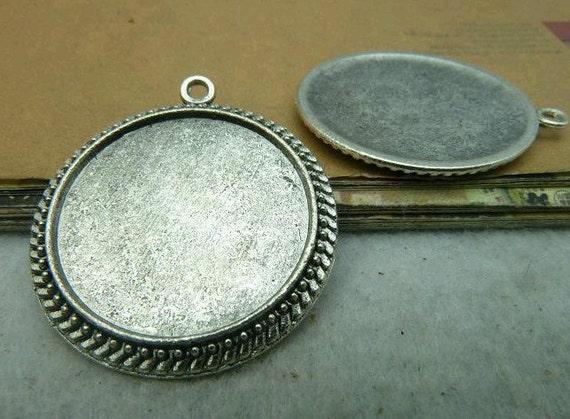 10 pcs 25mm The Silver white Alloy Cameo Base Setting Tray Blanks Pendants C2913