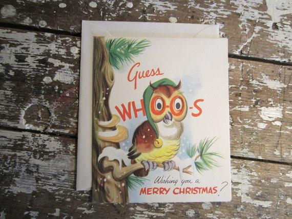 Moveable Christmas Card Owl Card Pop Up Card Santa Holiday Greetings 1940s