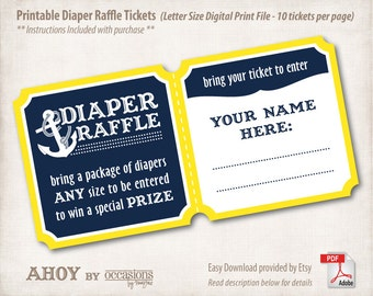 INSTANT DOWNLOAD, Printable Baby Shower Diaper Raffle Tickets, Letter Size, Digital File, Navy & Yellow, Ahoy, Nautical, Anchor, Aquatic
