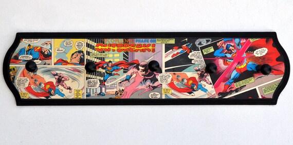 Superman Vintage Comics Coat Rack - DC Comic Book Decoupage