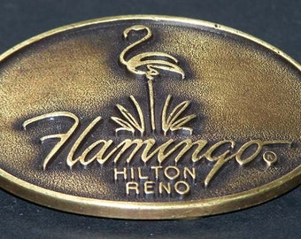 Solid Brass Belt Buckle For The Flamingo Hilton in Reno
