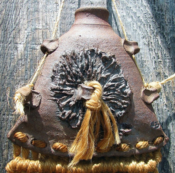 Vintage Handmade Stoneware Vase with Macrame Weaving - Signed - 1970s or Earlier - Very Earthy