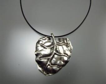 Silver Pendant-large leaf