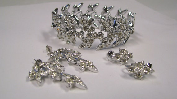 Vintage Rhinestone Bracelet Earring Demi Parure Signed Sarah Coventry, Art Deco Style Silver tone metal, Vintage Bridal