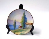 Japanese plate by Morimura Brothers , hand painted scene, lemon wedge server 1910-1911