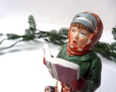 Christmas Carol Singer, Norman Rockwell collectible figurine, Holiday Decor china caroller, nostalgic Christmas ornament