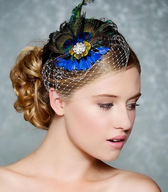 Peacock Bridal Hair Accessory Cobalt Sapphire Blue Feather Fascinator Birdcage Veil Wedding Headpiece Cocktail Hat - Ready to Ship - TABITHA