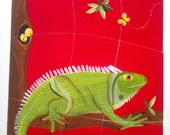 Iguana magnetic puzzle game for children