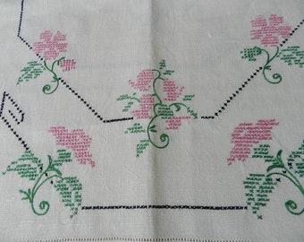 SALE Vintage Cross Stitched Floral Pattern on Antique White Linen Runners Dresser Scarf Set of 2