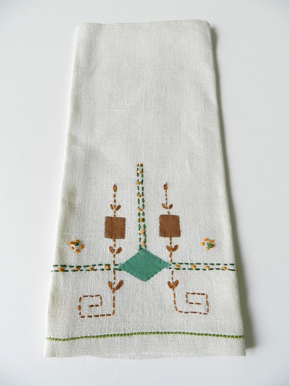 Vintage Ivory Linen Towel with Green Brown and Orange Stitching and Embroidery
