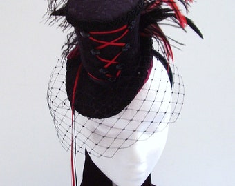 Black hat  burlesque Victorian fascinator - Black Fire