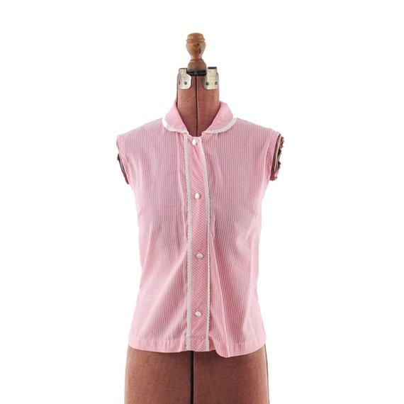 Vintage 1950's Baby Doll Pink ROCAKBILLY Sleeveless Blouse Shirt M