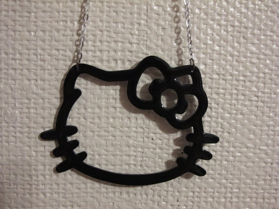 hello kitty face head outline bow pendant large necklace black outline  oversized hello kitty sanrio silver chain 18 inch chain glazed