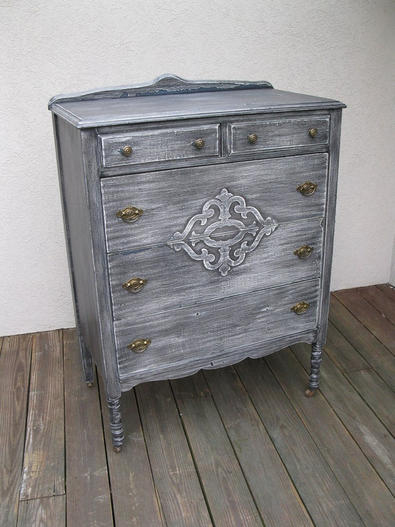 Chic And Shabby Black Tall Dresser Chest By