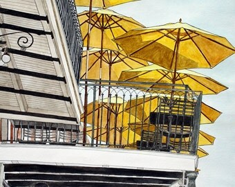 French Quarter Art Print - Ten Umbrellas, New Orleans 7 -  Street Scene 11 x 14 Print