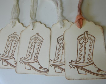 Cowboy Wedding - Hand stamped sepia western style boots - Ivory tags  - Muslin ties- Set of 4