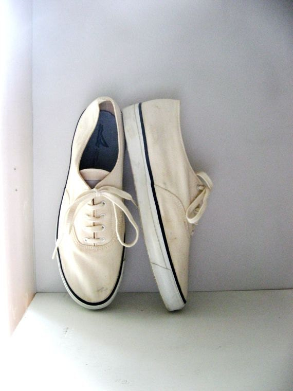 Vintage Sperry Sneakers Top Siders Off White Canvas Mens Size 10
