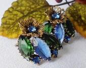 Morning Glory Emerald Sapphire Rhinestone Earrings Art Nouveau