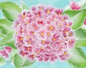 Pink hydrangeas art work painting in polka dot frame