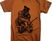 Mens Wild Gorilla Cop T Shirt - American Apparel Tshirt - XS S M L XL and XXL (28 Color Options)