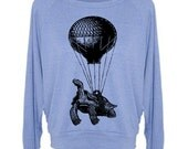 Women's Raglan Sweater Hot Air Balloon Turtle Sweatshirt Raglan Pullover - American Apparel Sweater - S M and L (8 Color Options)