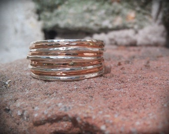 Stackable Rings Hammered- Mixed metals set of 9, 14k rose gold filled and sterling silver hammered rings