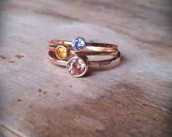 Stacking ring set faceted gemstone stack rings 14k gold bezel birthstone Fair Trade