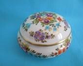 Handpainted Limoges flowers box porcelain  matt gold