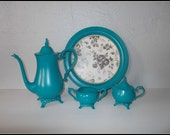 Upcycled Vintage Oneida Teapot, Creamer, Sugar Bowl and Tray - Upcycled Country Cottage - Teal Home Decor