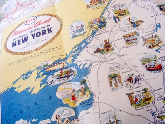 New York State Road Map, Esso Vintage 1949