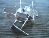 50 Pairs Silver Earring Posts with 8mm Flat Pad Nickel Free