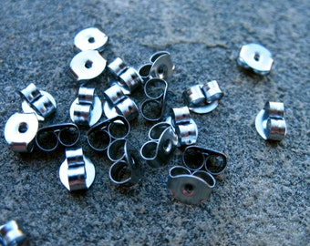 20 Pairs Titanium Earring Backs 4mm Hypoallergenic