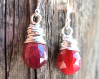 Silver Ruby Earrings - Birthstone Jewelry - July Birthstone