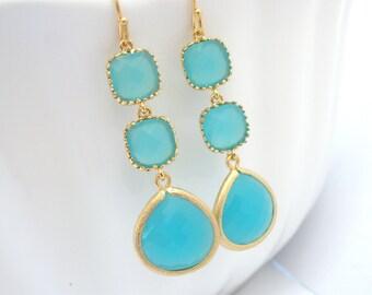 Aqua Blue Earrings, Mint Earrings, Aquamarine, Long Gold Earrings, Bridesmaid Jewelry, Bridesmaid Earrings, Bridal Jewelry, Bridesmaid Gift