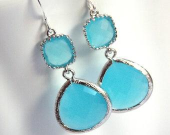Ocean Blue Earrings, Glass, Silver Blue Earrings, Light Blue, Aqua Turquoise, Bridesmaid Earrings, Bridal Earrings Jewelry, Bridesmaid Gift