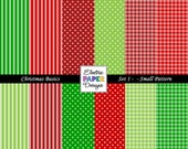 Christmas Digital Paper Pack - Small Pattern -  Christmas Colors Dots - Christmas Gingham - Christmas Stripes