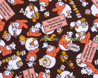 "W247B  - Vinyl Waterproof Fabric - Cartton - Rabbit - Deep Brown  - 27""x19""(70cmX50cm)"