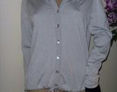 Givenchy sport vintage 80s silver gray knit logo scalloped petal collar cardigan sweater top jacket medium M