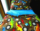 Toddler Bedding Boys Fleece Bed Set  'Blue Monster Trucks' Handmade Fleece Sheets Fits Crib and Toddler Beds