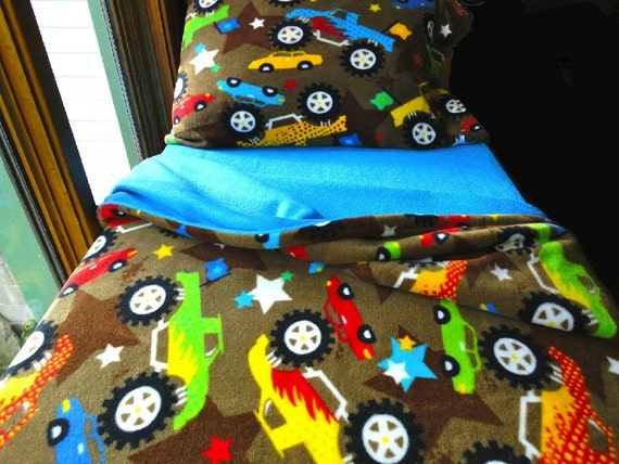 Toddler Bedding Boys Fleece Bed Set Blue Monster