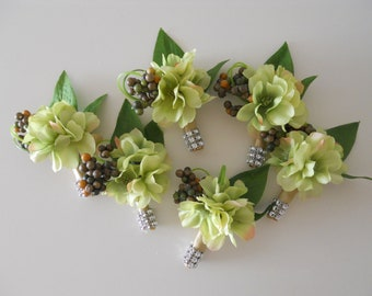 Green, Silver, Gray, Charcoal, Ivory, Champagne Boutonniere / Corsage with Rhinestone Accent