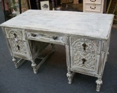 shabby chic antique white partners desk with 4 drawers