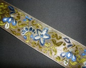 Blue and Gold Floral Jacquard Vintage Ribbon 2 yards