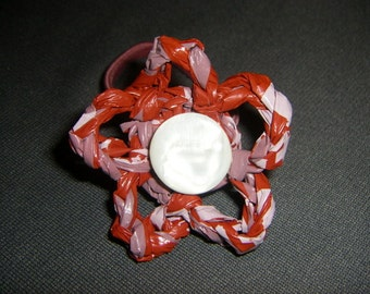 Red Plarn Flower Ponytail Holder with Vintage Button