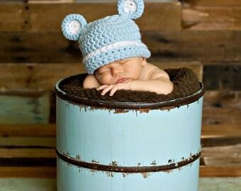 Crochet Blue Bear Hat